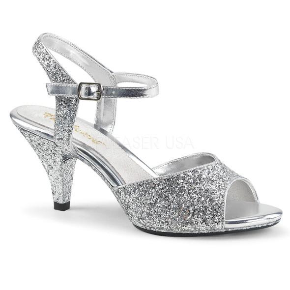 Belle-309G, 3 Inch High Heel Glitter Sandal