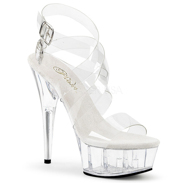 Delight-635, 6 Inch High Heel Criss Cross Platform Sandal