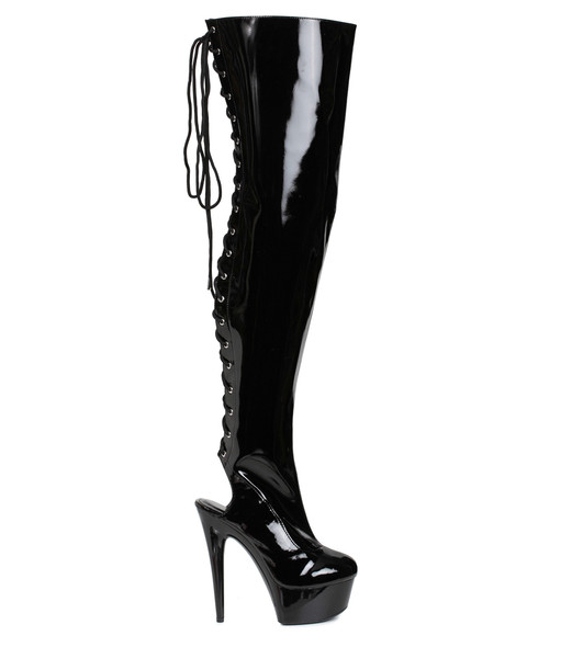 609-Royal, 6 Inch Heel Thigh High Boots with Back Lace up