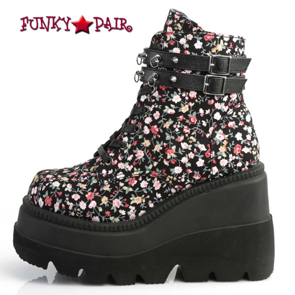 Demonia Shaker-52ST, Gothic Wedge Ankle Boots with Flower Design