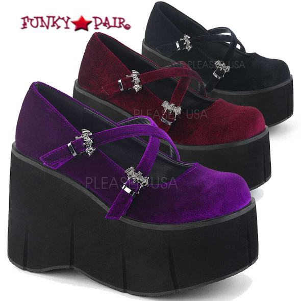 Demonia Women Shoes | Kera-10, 4.5 Inch Platform Criss Cross Strap Mary Jane Color available Purple Velvet, Burgundy Velvet, Black Velvet Size available 6 - 11