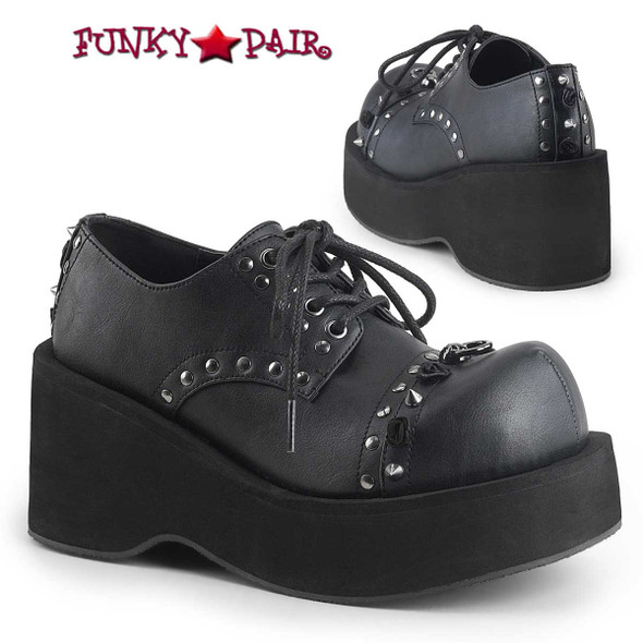Demonia Shoes | Dank-110, Spike Oxford Shoes