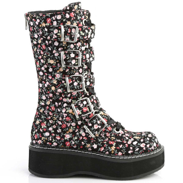 Emily-340, Goth Flower Buckle Straps Boots by Demonia