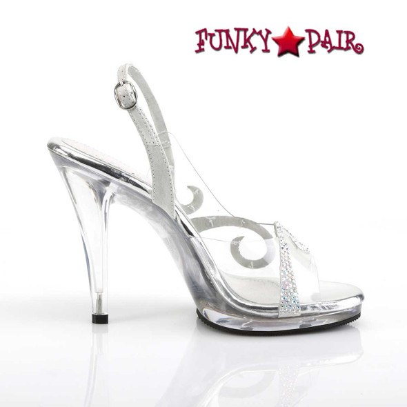 "Fabulicious | Flair-457, 4.5"" Clear Wedding Sandal with Rhinestones side view"