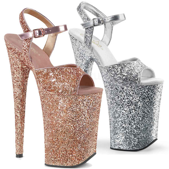 Pleaser   Infinity-910LG, 9 Inch Exotic Dancer Shoes  color available: Rose Gold, Silver