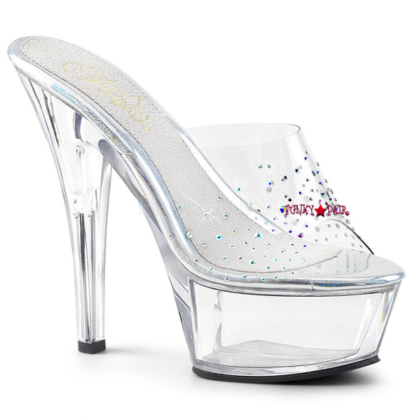 Pleaser | Kiss-201SD, High Heel Sandal with Rhinestones on Vamp