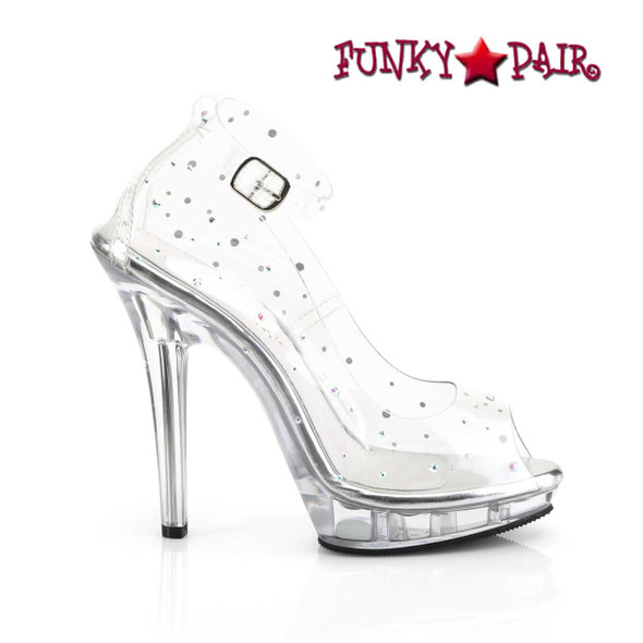 "Fabulicious | Lip-183, 5"" Clear Peep Toe Ankle Strap Pump"