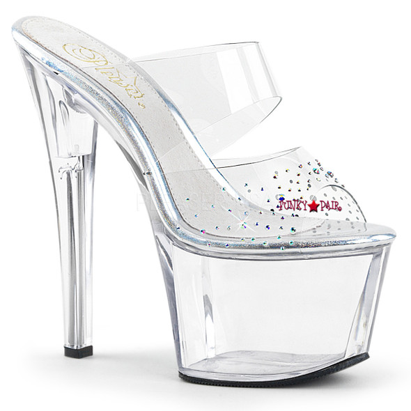 Sky-302SD, 7 Inch High Heel Platform Double Band Platform Slide with Rhinestones