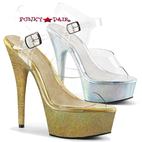 Stripper Shoes Delight-608HG, 6 Inch High Heel Platform Sandal with Holographic Glitter