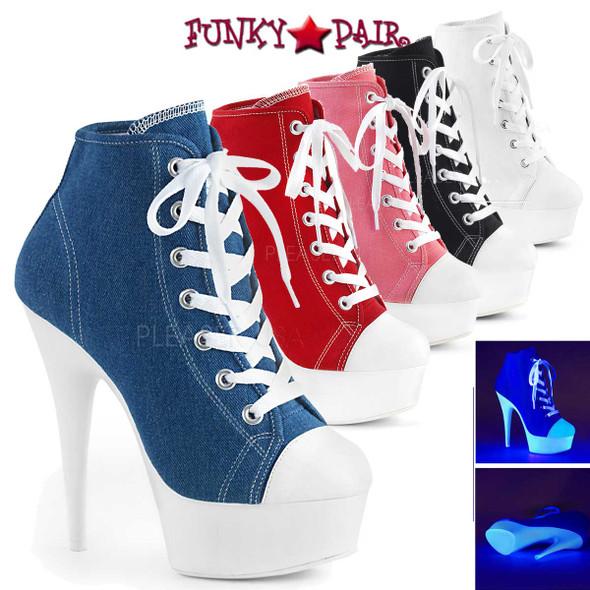 Pleaser | Delight-600SK-2, Neon Platform Canvas Sneaker | Funkypair.com