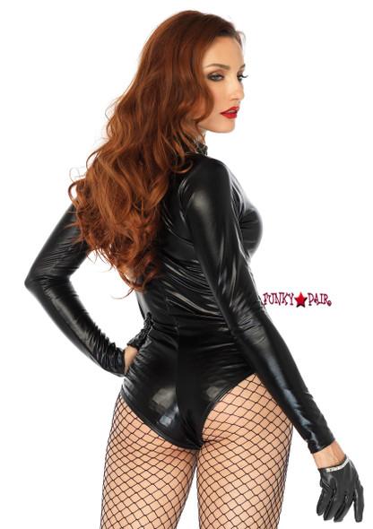 86695, Wet Look Zipper Front Bodysuit