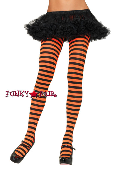 Nylon Striped Color Tights |Leg Avenue 7100 Color Orange/Black