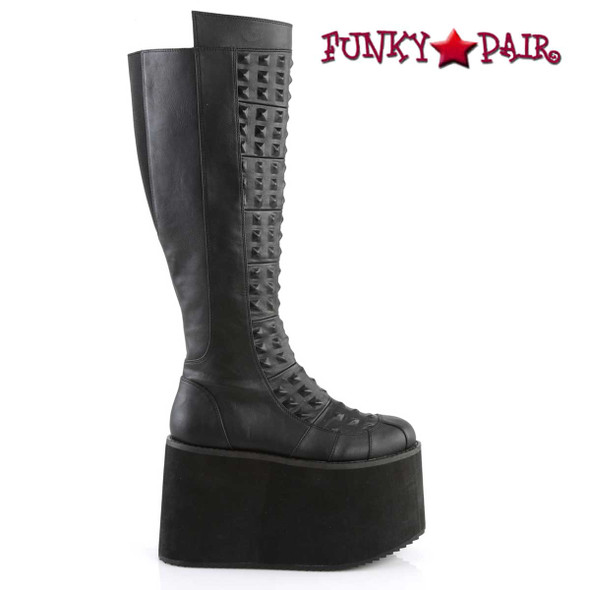 Demonia | ROT-13, Women's Platform Knee High Boots with Pyramid Stud