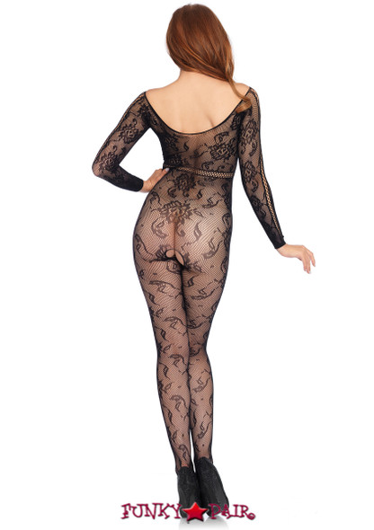 LA89209, Seamless Lace Long Sleeve Bodystocking