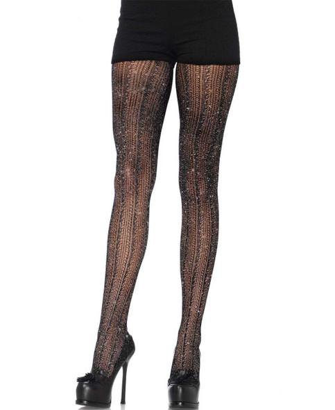 LA7953, Crocheted Stripe Lurex Shimmer Tights
