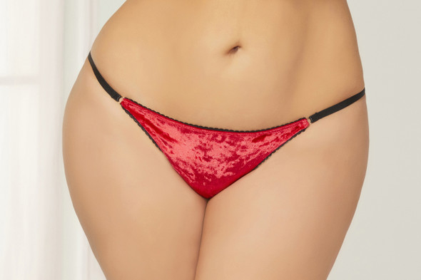 STM-10821X, Crushed Velvet and Crochet Panty (STM-10821X) (view)