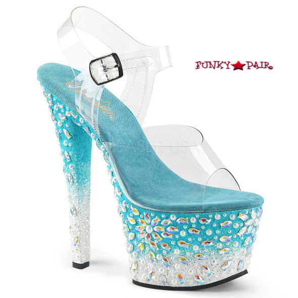 Pleaser Shoes Sky-308FISH, Platform Sandal with Fish Design on Platform