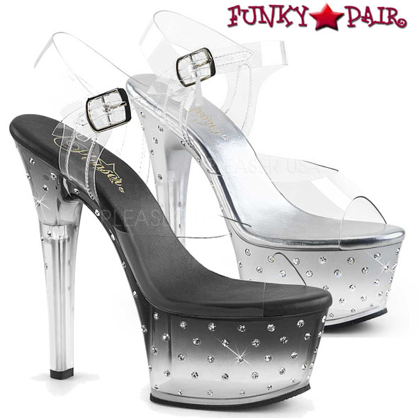 Pleaser Shoes Aspire-608STD, 6 Inch High Heel Ankle Strap with Rhinestone On One Side