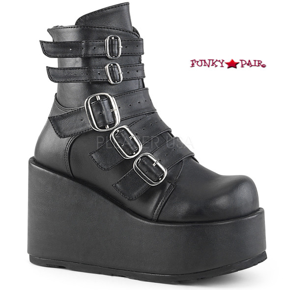 Concord-57, 4.25 Inch Platform Ankle Boots with Buckles