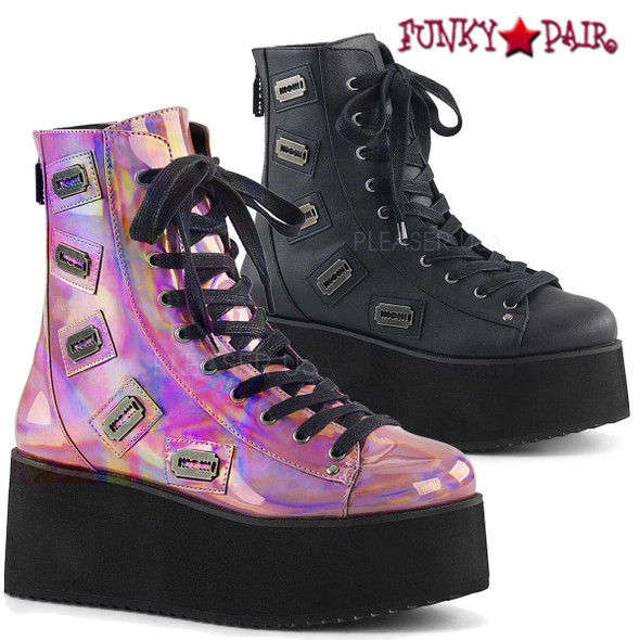 Demonia Shoes | Grip-103, Razor Shaped Platform Ankle Boots