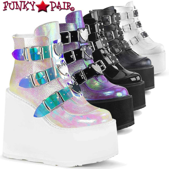 Demonia Swing-105, Triple Buckle Wedge Platform Ankle Boots