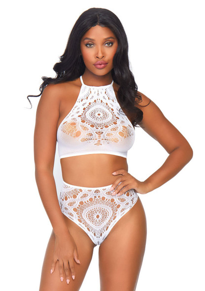 LA81552, Crochet Lace Crop Top and High Waist Thong color white