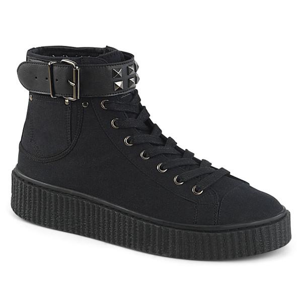 Sneeker-255, 1.5 Inch Platform Creeper Sneaker with Studded Belt Strap