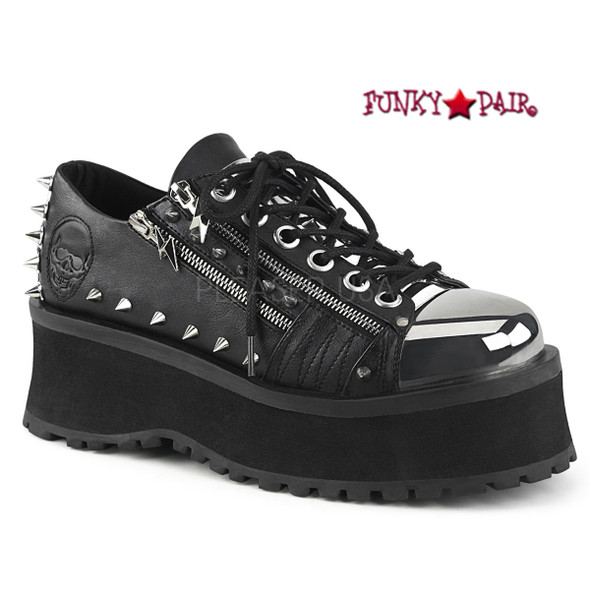 Gravedigger-04, 2.75 Inch Platform Oxford with Spikes and Double Zippers