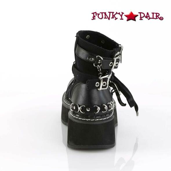 Emily-317, 2 Inch Platform Buckle Strap Ankle Bootie back view