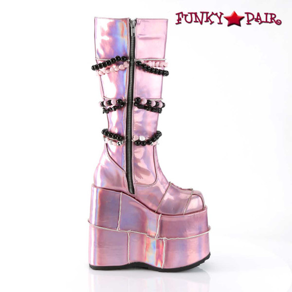 Slay-301, Gothic Punk Patch Design Boots inner zipper view