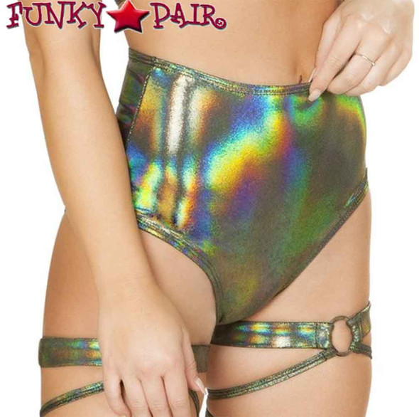 Roma | R-3609, Rave Shimmer High Waisted Shorts color Green