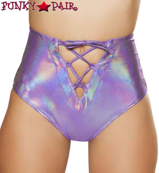 Rave High Waisted Shorts | Roma R-3611 color purple front view