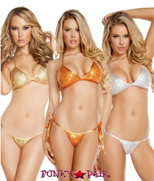 Rave Low Rise Bikini Set | Roma R-3202 color available: Gold, Orange, Silver