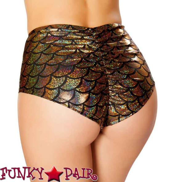 Rave Mermaid High-Waisted Shorts | Roma R-SH3313 color gold back view