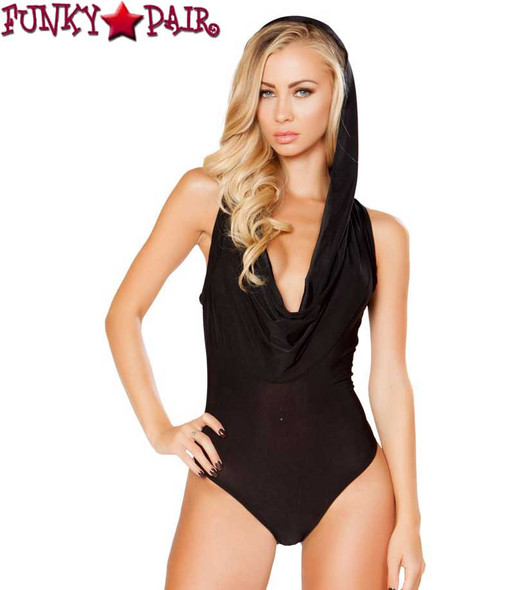 Rave Hooded Romper | Roma R-3290 color black front view