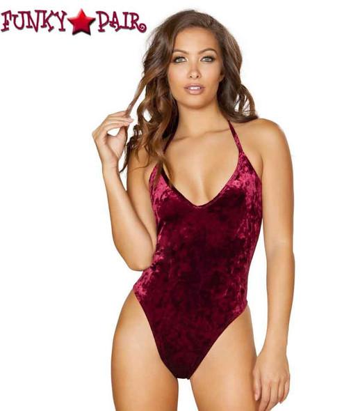 Rave Velvet Bodysuit | Roma R- 3580 Color burgundy front