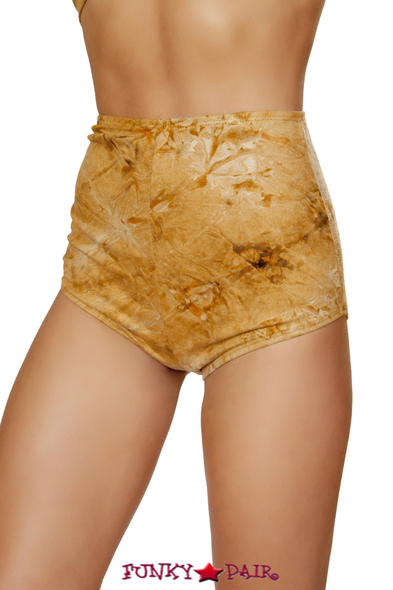 R-3586, Tie-Dye Suede High-Waisted Shorts
