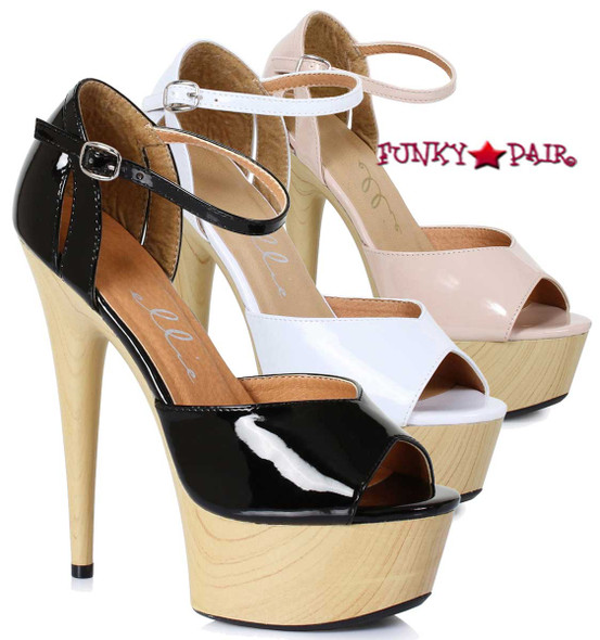 609-Billie, 6 Inch High Heel Peep Toe Wood Platform Sandal