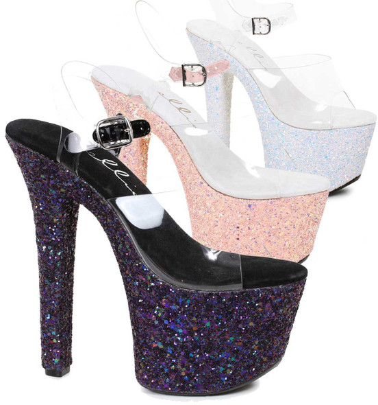 711-Serenity, 7 Inch High Heel Ankle Strap with Glitter Platform