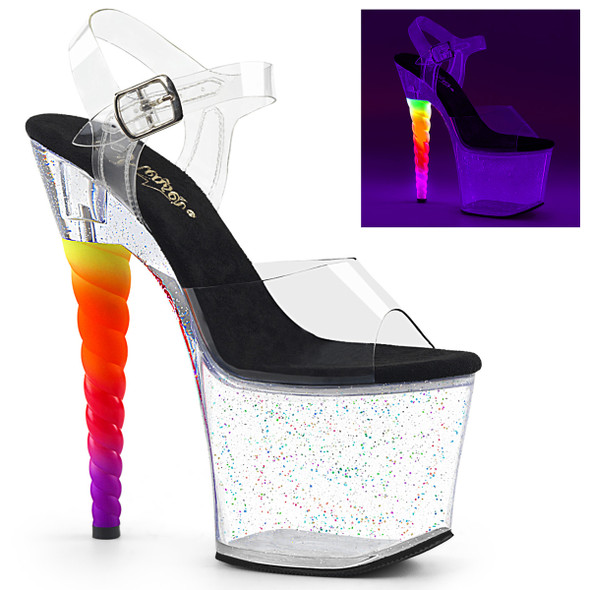 Pleaser Unicorn-708MG, Ombre Unicorn Heel Platform Sandal