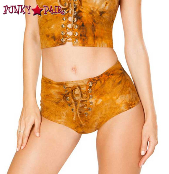 J. Valentine | Lace up Short Rave Wear JV-FF196 Color Rusty Tie Die