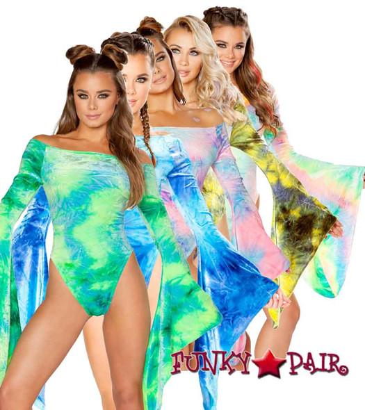 J Valentine | Velvet Long Sleeve Bodysuit Rave Wear JV-FF113 color available: Cotton Kandi, Sky Blue, Sea Tie-Dye, Pastel, Sun Orange, Earth Olive/Yellow