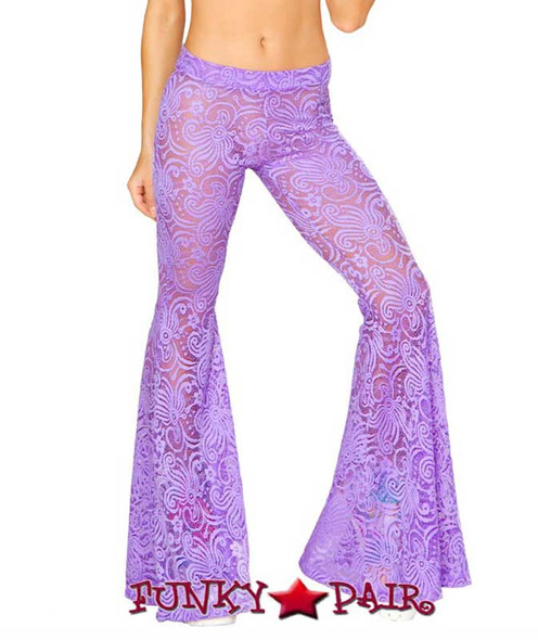 J Valentine | Lace Bell Bottom Pant Rave Wear JV-RB160 color available: Black, Hot Pink, Lavender, Yellow Sunshine