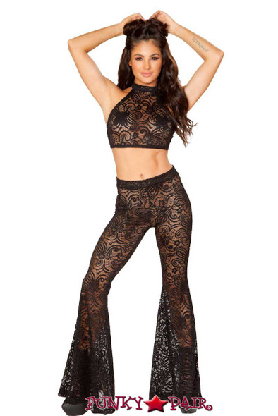 J Valentine | Lace Bell Bottom Pant Rave Wear JV-RB160 color Black
