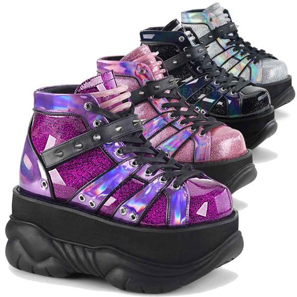 Neptune-100 Men Platform Lace-up Goth Shoes by Demonia