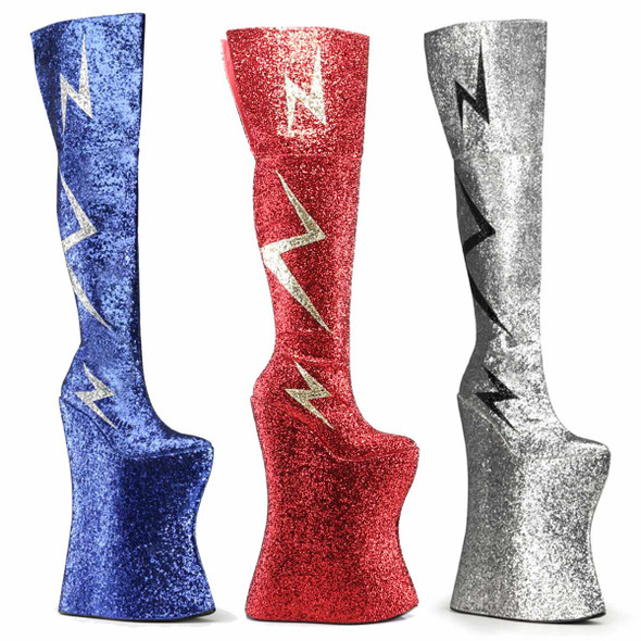 "Vivacious-3016, Spectator 13.5"" Thigh High Lightning Bolt Boots"