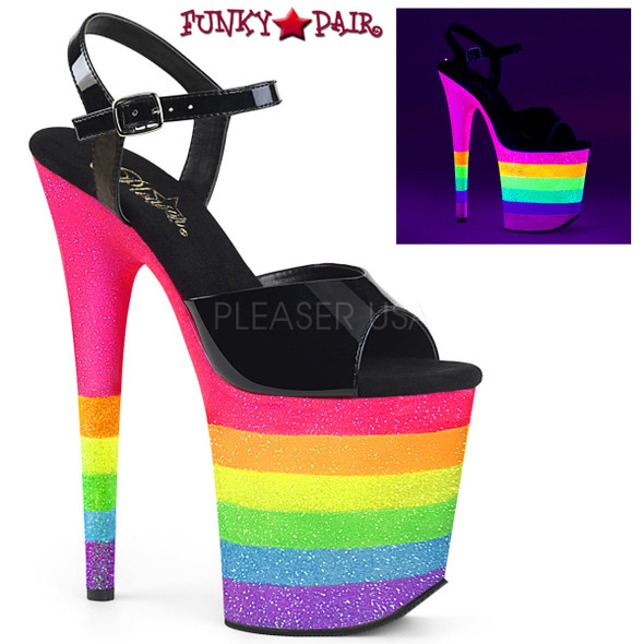Pleaser Shoes Flamingo-809UVRB, Rainbow Glitter Platform Ankle Strap Sandal