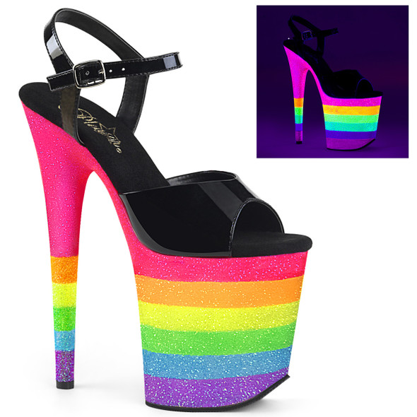 Exotic Dancer Shoes  Flamingo-809UVRB, Rainbow Glitter Platform Ankle Strap Sandal