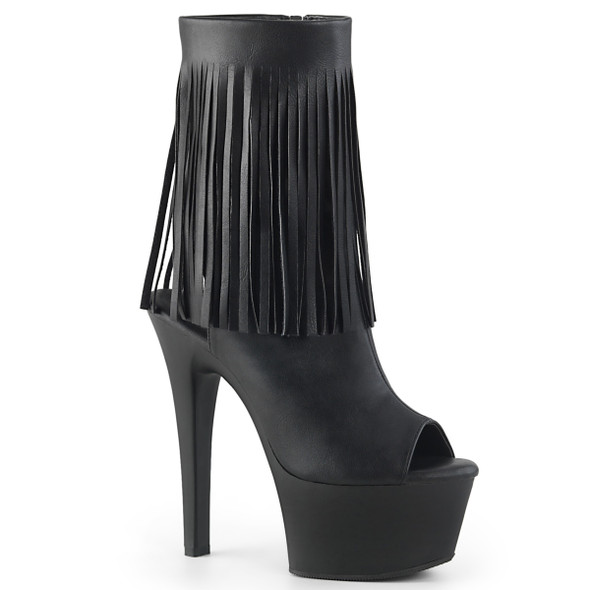 Pleaser | Aspire-1019, Open Toe Fringe Ankle Boots