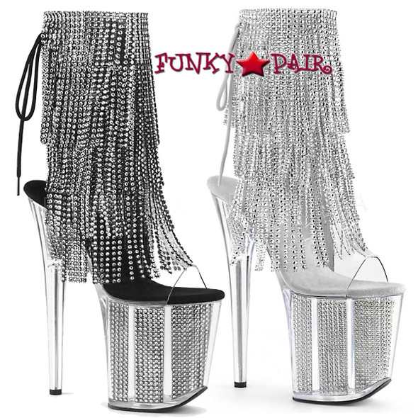 Pleaser Boots | Flamingo-1017SRS, 4 Layer Fringe Platform Ankle Boots